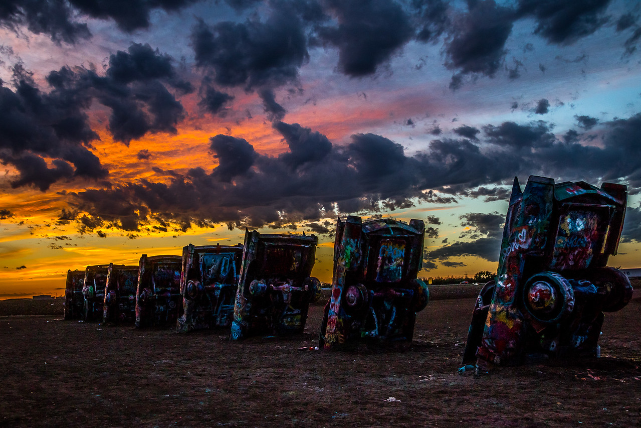 Cadillac Ranch Sunset