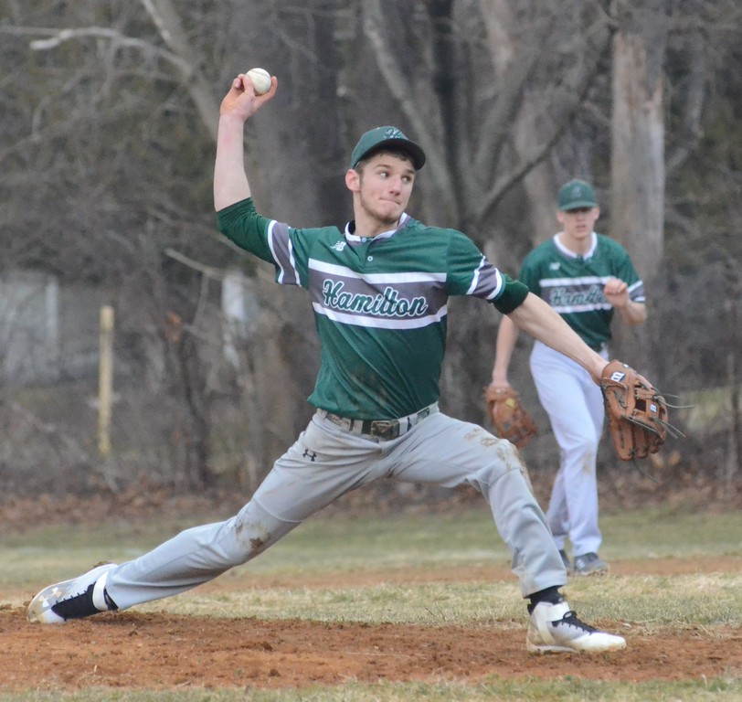 . John Brewer - Oneida Daily Dispatch Hamilton starter Sam Campbell deals a pitch during Friday�s home win against Morrisville-Eaton.