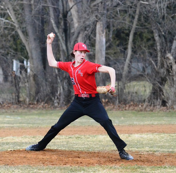 John Brewer - Oneida Daily Dispatch Morrisville-Eaton's Cameron Clark delivers from the mound on Friday, April 13 against Hamilton.