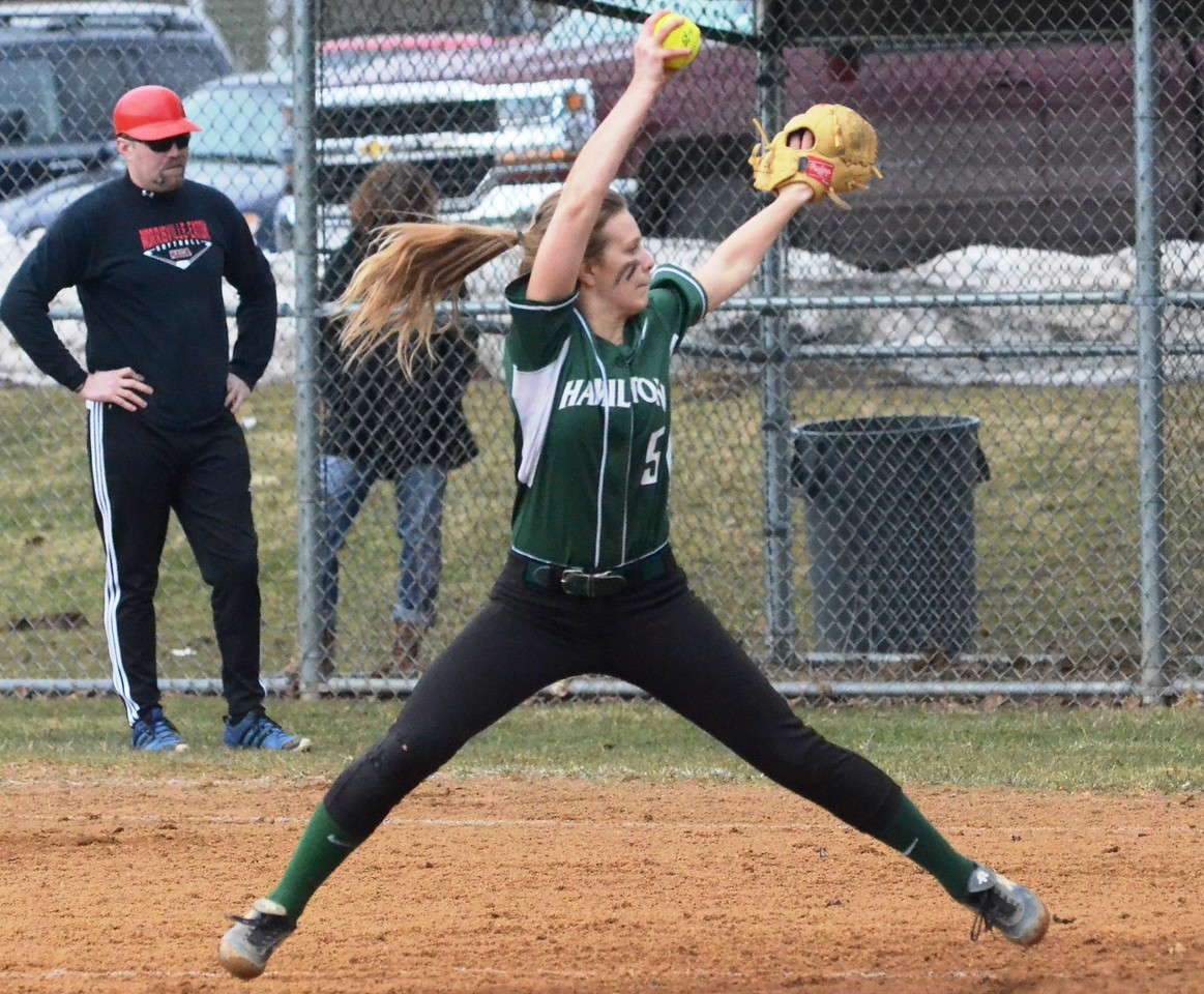 John Brewer - Oneida Daily Dispatch Hamilton pitcher Beth Belanger winds and deals during CSC-IV softball action on Friday, April 13.