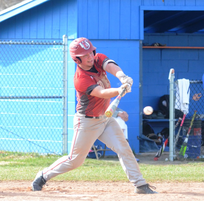 . John Brewer - Oneida Daily Dispatch Vernon-Verona-Sherrrill batter Tyler Rotach connects on a Ryan Chevier offering during Tuesday�s TVL baseball contest.