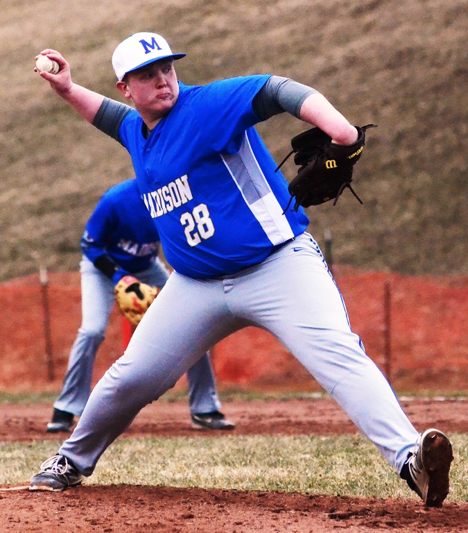 . John Brewer - Oneida Daily Dispatch Madison starter Tim Strain deals a pitch during Saturday�s contest against Stockbridge Valley.