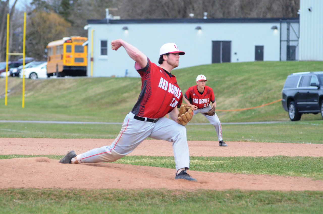 John Brewer - Oneida Daily Dispatch Andrew Roden readies to deal a pitch during Vernon-Verona-Sherrill's  7-2 win over Oneida on Tuesday, April 24.