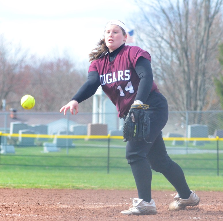 . John Brewer - Oneida Daily Dispatch Stockbridge starter Alaina Beane sends a pitch toward home plate during Friday�s softball clash with Oriskany.