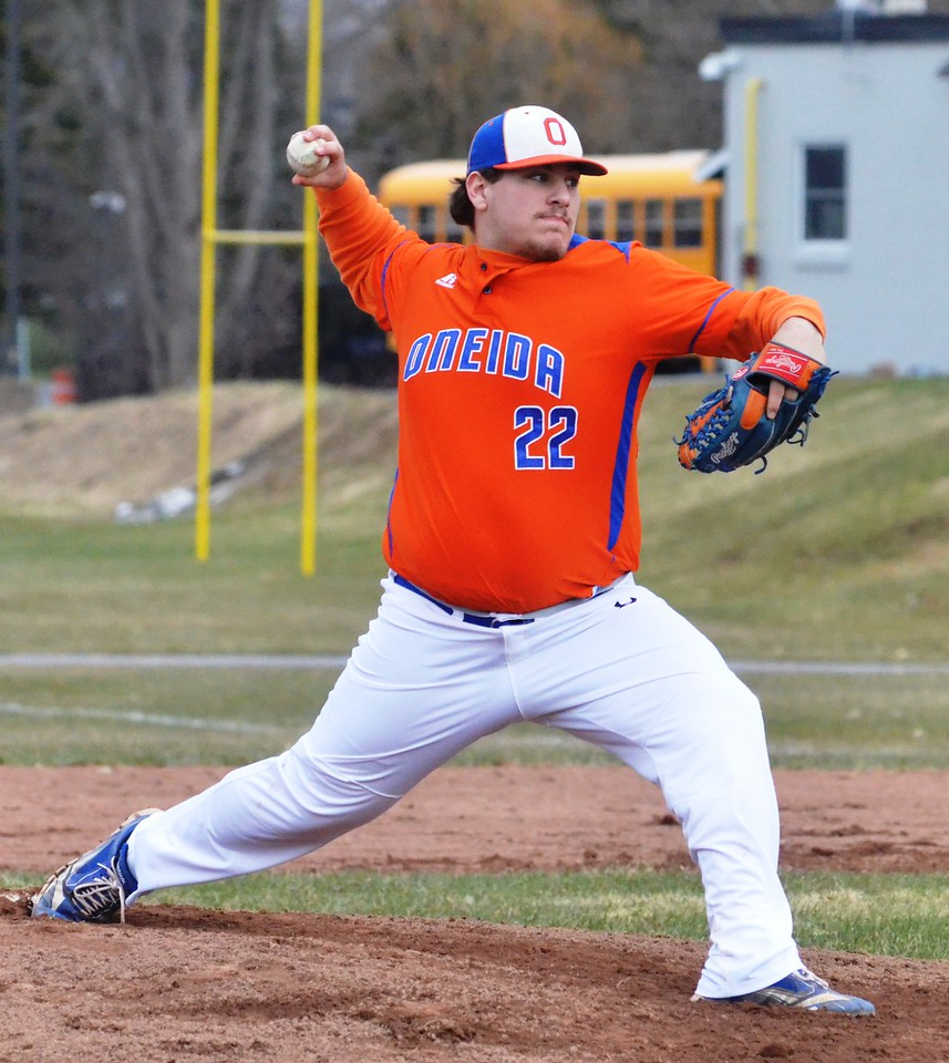 John Brewer - Oneida Daily Dispatch Oneida starting pitcher Ryan Chevier rears for a pitch during Oneida's 10-7 win against Rome Free Academy on Friday, April 20.