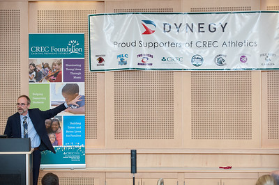 04/03/18  Wesley Bunnell | Staff  Representatives from Dynegy, a power generating company in the Northeast, MId-Atlantic, Midwest and Texas, presented a $100,000 donation to CREC Athletics. The donation will be used towards the continuation of middle school sports at five participating CREC schools for the upcoming year. Vice President of Dynegy Plant Operations Peter Ziegler points to a list of the schools participating in CREC Athletics while giving his remarks.