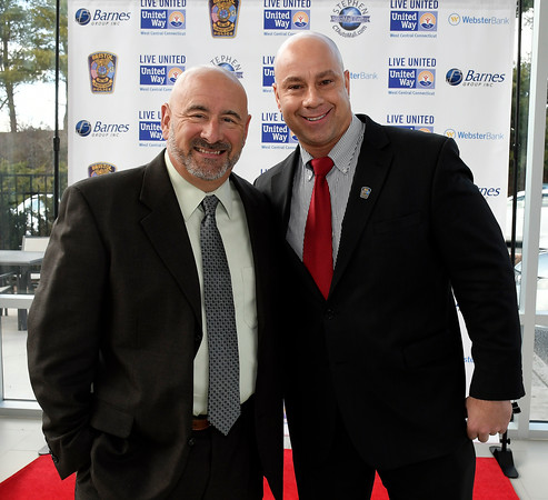 4/5/018 Mike Orazzi | Staff Bristol Police Detective Pete Dauphinais, and police chief Brian Gould during the United Way of West Central Connecticut's 16th Annual Community Builders' Reception Thursday night.