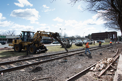 04/05/18  Wesley Bunnell | Staff  Pan-Am crews are on the scene of a train derailment on Thursday morning in front of Columbus Plaza assessing and making repairs to the tracks.  The site was also the scene of a derailment in 2016. Heavy equipment is being used to remove broken railroad ties from beneath the tracks.