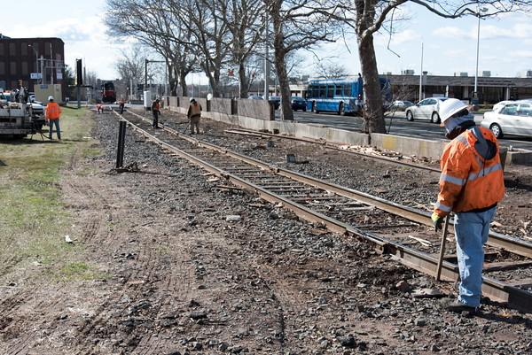 04/05/18 Wesley Bunnell | Staff Pan-Am crews are on the scene of a train derailment on Thursday morning in front of Columbus Plaza assessing and making repairs to the tracks. The site was also the scene of a derailment in 2016. The scene looking towards the corner of Columbus and Chestnut St.