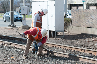 04/05/18  Wesley Bunnell | Staff  Pan-Am crews are on the scene of a train derailment on Thursday morning in front of Columbus Plaza assessing and making repairs to the tracks.  The site was also the scene of a derailment in 2016.
