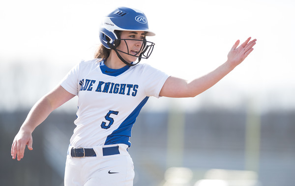 04/09/18 Wesley Bunnell | Staff Southington softball defeated Bristol Eastern 6-1 at Southington High School on Monday afternoon. Frankie Ferrante (5)