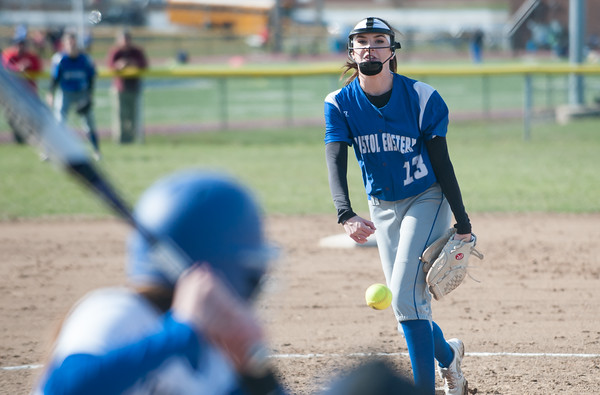 04/09/18 Wesley Bunnell   Staff Southington softball defeated Bristol Eastern 6-1 at Southington High School on Monday afternoon. Erin Girard (13)