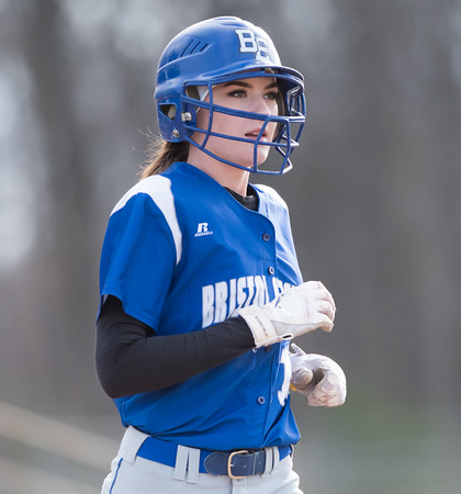 04/09/18 Wesley Bunnell | Staff Southington softball defeated Bristol Eastern 6-1 at Southington High School on Monday afternoon. Erin Girard (13).