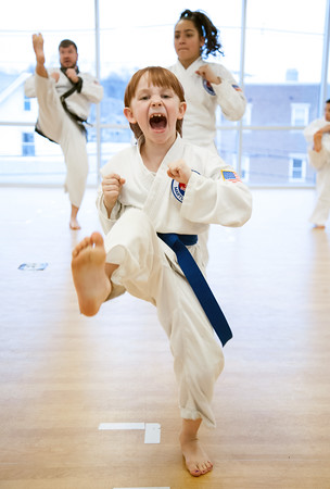 04/09/18 Wesley Bunnell   Staff The Martial Arts Program at the Bristol Boys and Girls Club for ages 7 and up meets every Monday at 5:45. Annie Hayman, age 8, practices her front kick.
