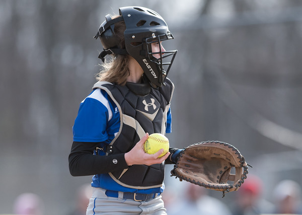04/09/18 Wesley Bunnell | Staff Southington softball defeated Bristol Eastern 6-1 at Southington High School on Monday afternoon. Paige McLaughlin (2).