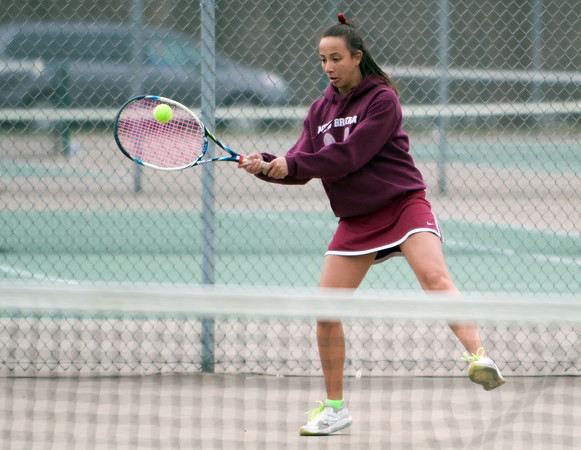 04/17/18 Wesley Bunnell | Staff Berlin girls tennis at New Britain on Tuesday afternoon. New Britain's Larissa Tabb.
