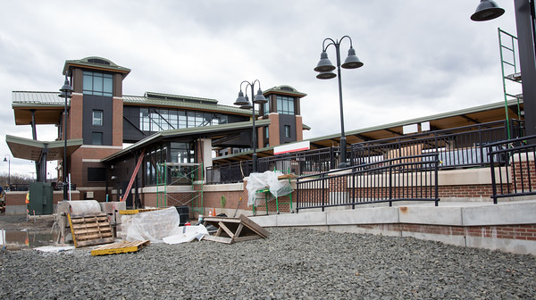 04/17/18 Wesley Bunnell | Staff The walkway and main building for the Berlin Train Station are shown with tracks to the right on Tuesday afternoon.