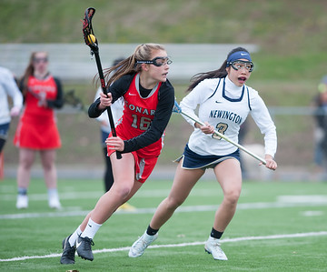 04/17/18  Wesley Bunnell | Staff  Newington girls lacrosse was defeated 19-2 by Conard at Newington on Tuesday afternoon. Mindy Tran (3).