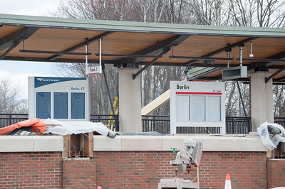 04/17/18  Wesley Bunnell | Staff  Empty sign holders for the new Berlin Train Station and Amtrak sit on the track 1 side on Tuesday afternoon.