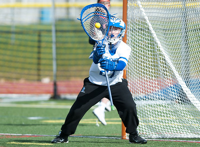 04/19/18  Wesley Bunnell | Staff  Southington girls lax vs Brien McMahon at Southington High School on Thursday afternoon. Julia Wells (27).