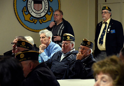 4/19/2018 Mike Orazzi | Staff Bristol veterans listen to Terrence J. Finnegan during a program on the 100 year anniversary of the Battle of Seicheprey held at the American Legion Post 2, which is named after the battle.