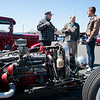 04/21/18  Wesley Bunnell | Staff<br /> <br /> Car owner Augie Reil, L, speaks with Nick Carroll and Luke Stroehlein in front of his 1940 Dodge truck at the Klingberg Family Center. The Klingberg Vintage Motorcar Series held their April event on Saturday with a focus on the Ford Model A.