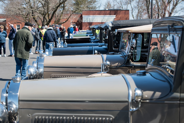 04/21/18 Wesley Bunnell | Staff A long row of Model A Ford's are shown at the Klingberg Family Center. The Klingberg Vintage Motorcar Series held their April event on Saturday with a focus on the Ford Model A.