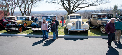 04/21/18  Wesley Bunnell | Staff  Visitors stand in front of a row of vintage cars at the Klingberg Family Center. The Klingberg Vintage Motorcar Series held their April event on Saturday with a focus on the Ford Model A.