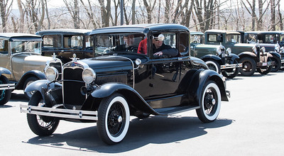 04/21/18  Wesley Bunnell | Staff  Josh Goldberg drives his 1930 Ford Model A with passenger Gary Mason out of the parking lot at Klingberg Family Center. The Klingberg Vintage Motorcar Series held their April event on Saturday with a focus on the Ford Model A.