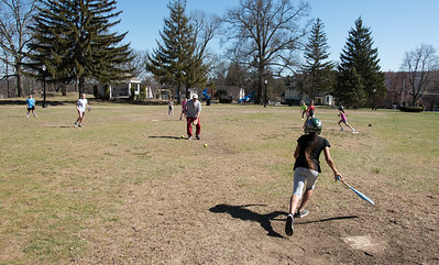 04/23/18  Wesley Bunnell | Staff  St. Josephs School held girls softball practice at Federal Hill park across from the school on Monday afternoon. Jaletzex Arroyo, age 10, tosses the bat aside after being pitched to by Mr. Bob Houle who teaches 7th grade.