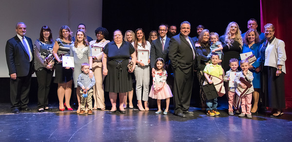 04/23/18 Wesley Bunnell | Staff The Consolidated School District of New Britain held their Excellence in Education Awards Ceremony on Monday evening at New Britain High School. All finalists for CSDNB Teacher of the Year on stage flanked by Chief Operating Officer Paul Salina, L, and superintendent of schools Nancy Serra, R.