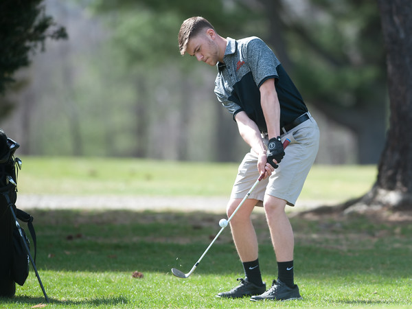 04/24/18 Wesley Bunnell | Staff Terryville boys golf team competed against Gilbert and Wamogo at Pequabuck Golf Club on Tuesday afternoon. Mike Hills