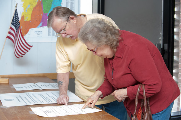 04/24/18 Wesley Bunnell | Staff Berlin residents voted Tuesday on a proposed 2018-19 $43.9 million education budget and $45.6 million general government budget. Timothy and Madeline Sullivan look over a sample ballot before checking in to vote at The American Legion Post 68 voting location.