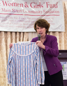 04/24/18  Wesley Bunnell | Staff  The 17th Annual Wonder of Women was held Tuesday evening at the Aqua Turf Club. Comedian Jane Condon makes a joke about using a nightgown as birth control.