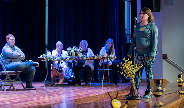 04/25/18 Wesley Bunnell | Staff The Consolidated School District of New Britain held its District Middle School Spelling Bee Championship at Slade Middle School on Wednesday evening. Jenni-le Oakes from HALS won the 8th grade competition.