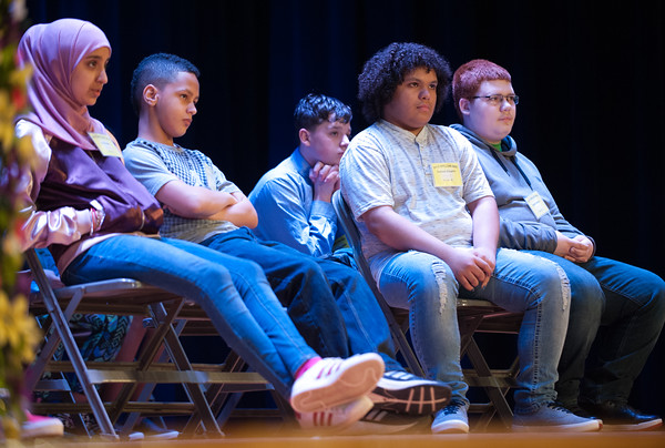 04/25/18 Wesley Bunnell | Staff The Consolidated School District of New Britain held its District Middle School Spelling Bee Championship at Slade Middle School on Wednesday evening.