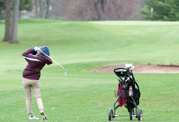 04/30/18 Wesley Bunnell | Staff Newington girls golf vs New Britain on Monday afternoon at Indian Hill Golf Club in Newington. New Britain's Kiley Griffin.