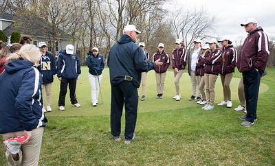 04/30/18  Wesley Bunnell | Staff  Newington girls golf vs New Britain on Monday afternoon at Indian Hill Golf Club in Newington.  Newington coach Rich Condon addresses the teams.