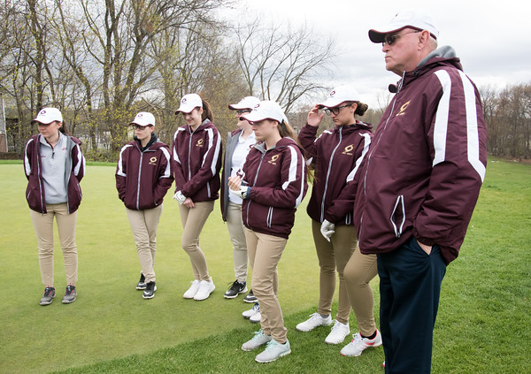 04/30/18 Wesley Bunnell | Staff Newington girls golf vs New Britain on Monday afternoon at Indian Hill Golf Club in Newington. New Britain girls golf team stands with coach Rich Carlson.