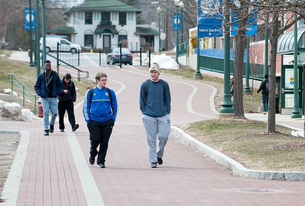 03/22/18 Wesley Bunnell | Staff CCSU students walk in front of Welte Hall on campus on March 22.