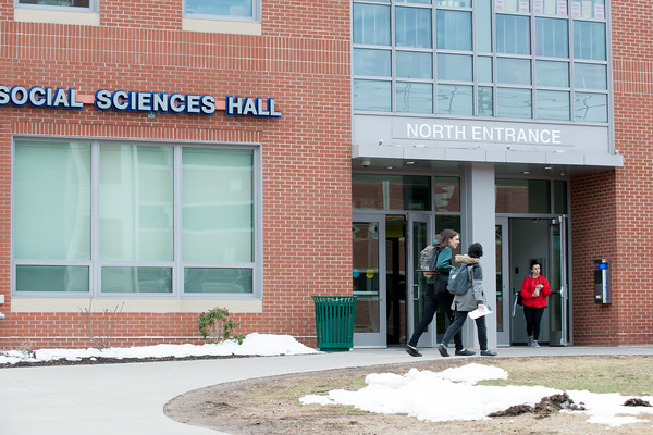 03/22/18 Wesley Bunnell | Staff CCSU students exit a social sciences hall on March 22nd.
