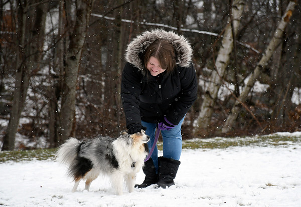 4/10/2018 Mike Orazzi | Staff Charleen Patterns and her dog Adelaide May while out in Plymouth Tuesday morning.