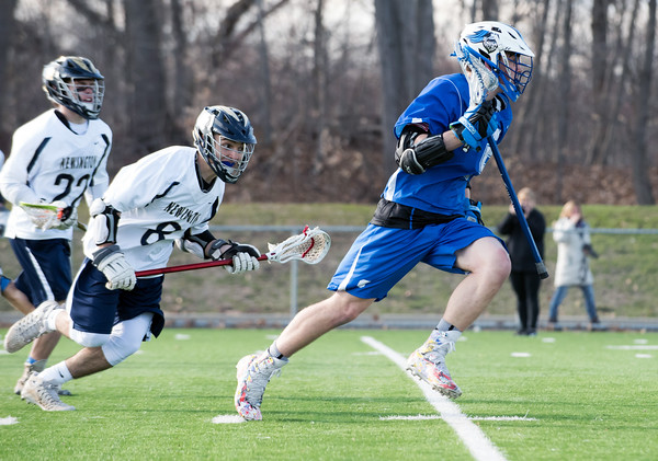 04/10/18 Wesley Bunnell | Staff Southington boys lacrosse defeated Newington 8-5 at Newington on Tuesday afternoon. Dan Pastrichello (8) and Matt Thompson (5).