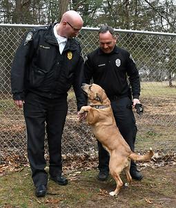 4/10/2018 Mike Orazzi | Staff Southington Police Lieutenant Stephen Elliott  and  ACO Joshua Karabin with Sasha at the town dog pound.