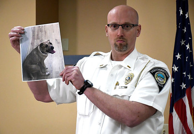 4/10/2018 Mike Orazzi | Staff Southington Police Lieutenant Stephen Elliott  during a press conference after a couple was arrested on animal cruelty charges Monday after an investigation into three dogs police say were living in squalor in a basement.