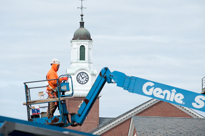 03/22/18  Wesley Bunnell | Staff  Workers continue with the renovations to Willard and DiLoreto Halls at CCSU shown on March 22nd.  The clocktower above Davidson Hall is shown in the background.