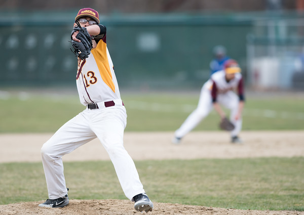 04/11/18 Wesley Bunnell | Staff New Britain baseball was defeated by Bristol Eastern on Wednesday afternoon at Beehive Field. Kevin Rodriguez (13).