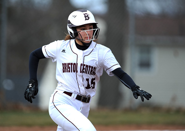4/11/2018 Mike Orazzi | Staff Bristol Central's Gwen Torreso (15) against Wethersfield in Bristol.