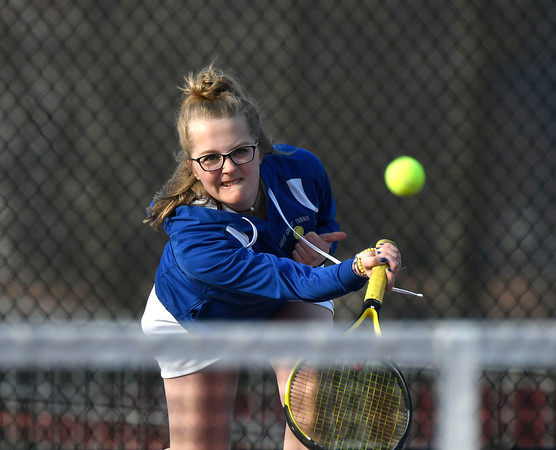4/12/2018 Mike Orazzi | Staff Bristol Eastern's Sophie Johnsky during Thursday's tennis match.