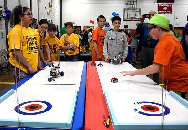 4/12/2018 Mike Orazzi | Staff The 2018 Middle School Robotics Challenge held at the Northeast Middle School in Bristol Thursday.